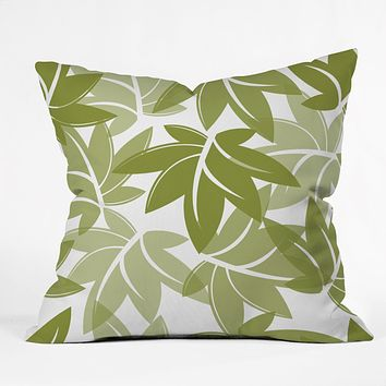 Sabine Reinhart Green Leaves Throw Pillow