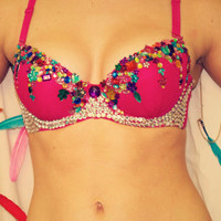 "Hot Pink ""Colour Colour!"" Rave Bra, adult costume with Feather Detail for edm festivals, edc, gogo dancers,"