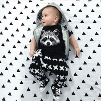 New Autumn Summer Baby clothing Boys short Sleeve Gary Fox Girls Casual set Baby Clothing