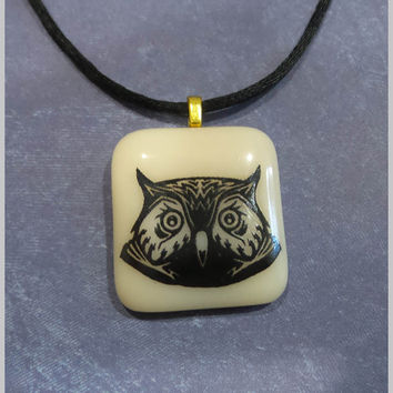 Owl Pendant, Wisdom, Graduation Gift, Ready to Ship, Earthtone Pendant, Black Owl, Fused Glass Jewelry - Athene Noctua --6