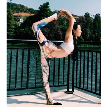 """""""LULU LEMON"""" Printing yoga pants breathable quick-drying tight pants for fitness Feather"""