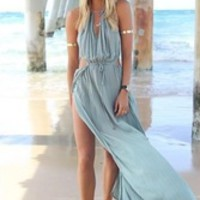 2014 Fashion Summer Women Bandage Sexy V-Neck Beach Boho Maxi Dresses Long Dress Halter Side Split Vestidos