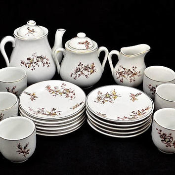 Antique Child's KT&K China Tea Set, Knowles Tea and Dessert Set, 1880s Children's Tea Set