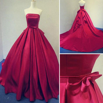2016 Long Burgundy Prom Dresses Ball Gowns Evening Party Gown Strapless Stain Lace-up Real Photos Dress