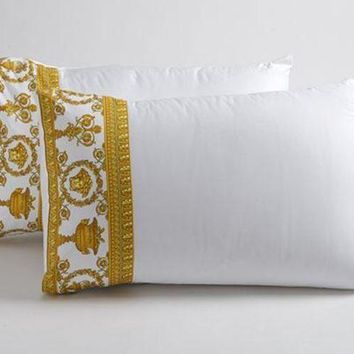Versace Baroque Medusa Queen Size Bed Duvet Cover + Sheet Set 4 pcs White