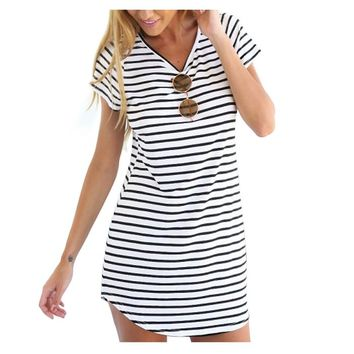 FUNOC® Women Summer Beach Dress Party Short Sleeve Stripe Blouse Mini Sundress