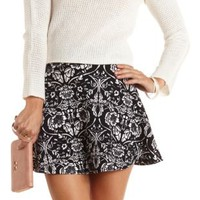 Floral Print Textured Skater Skirt by Charlotte Russe - Black/White