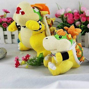 """Super Mario party nes switch  Bros Plush Bowser And Bowser Jr. Soft Toy Cuddly Stuffed Animal 10"""" Toys   Set of 2 (Bowser+Bowser Jr) AT_80_8"""