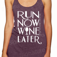 Run Now Wine Later Tank Top. Womens Tank Top. Workout Tank top. Marathon, Crossfit, Fitness Tank, Gym Tank, Work out tank Funny gift