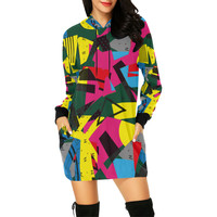 Crolorful shapes All Over Print Hoodie Mini Dress (Model H27) | ID: D2458402