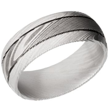 Lashbrook 8mm Damascus Steel Domed Wedding Band