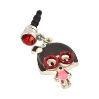 For Apple iPhone 4S 4 Galaxy S Cell Phones & MP3s Geek Girl Red Glasses and Silver Gems Universal 3