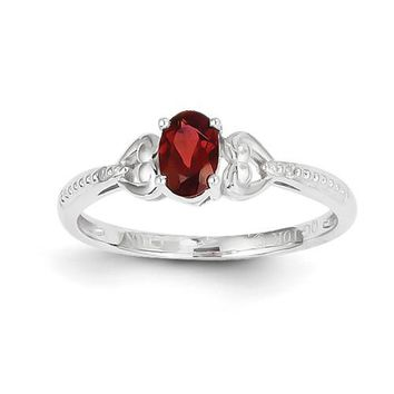 10k White Gold Garnet Diamond Ring