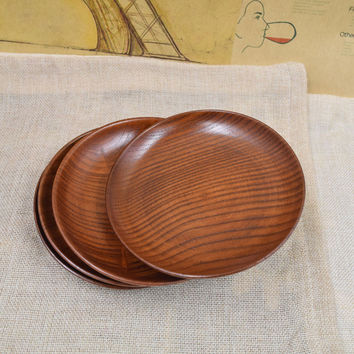 2 Pcs/lot Japanese Creations Wooden Fruit Dessert Servies Dish Prato Round Wood Food Sweets Coffee Dinner Plates Tray Tableware