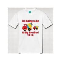 Big Brother Cement Mixer New Baby Sibling Announcement Shirt - SS5030