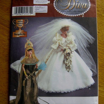 Simplicity 7077 sewing Pattern Diva Princess Diana Di Wedding dress Cleopatra costume outfit 11.5 fashion doll clothes