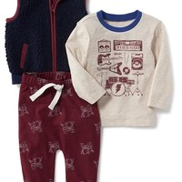 3-Piece Sherpa Vest, Graphic Tee and Pants Set for Baby | Old Navy