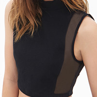 FOREVER 21 Zippered Mesh Crop Top