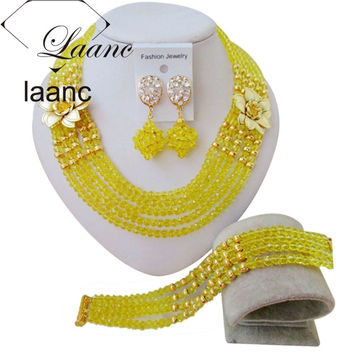 Lovely Yellow African Beads Bridal Jewelry Set Nigerian Wedding Beaded Crystal Necklace Set Free Shipping ABF426