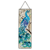 SheilaShrubs.com: Peacock's Pageantry Painted Art Glass Panel JB403 by Design Toscano: Stained Glass