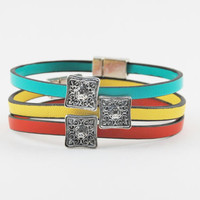 Leather Stacked Bangle Bracelets with Magnetic Clasp