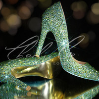 "CHARLIE CO. Peridot AB Green Pointed Toe Stiletto's 4.5"" High Heels Bridal Wedding Prom Evening Sparkly Occasion Swarovski"