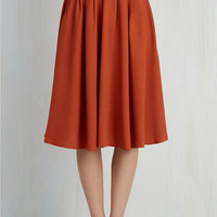 Folk Art Long Full Breathtaking Tiger Lilies Skirt in Orange by ModCloth