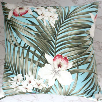 turquoise hibiscus barkcloth cushions