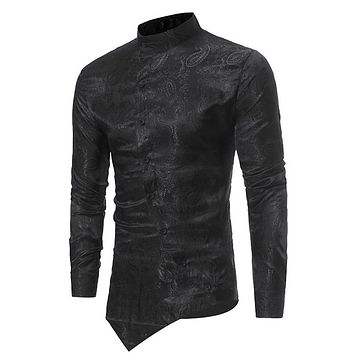 Men's Brocade Paisley Asymmetrical Hem Shirt