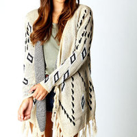 Laura Intarsia Diamond Tassel Cardigan