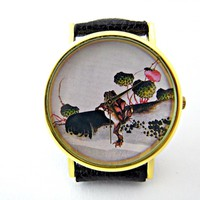 Frog Leather Wrist Watches, Woman Man Lady Unisex Watch, Genuine Leather Handmade Unique Watch #61 on Luulla