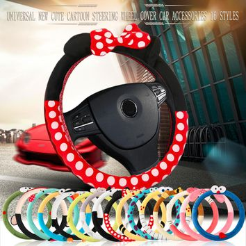 Car Steering Wheel Cover cute Cartoon Universal Interior Accessories Set Women/man 16 designs car covers  Car Styling