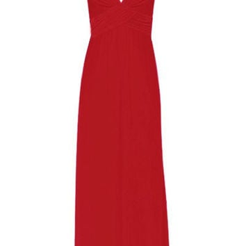 Red V-Neck Backless High-Waisted Chiffon Dress
