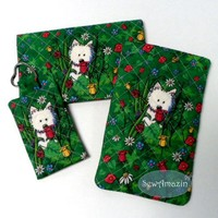 Quilted Set Garden Westie Checkbook Cover, Glasses Case, Key Chain