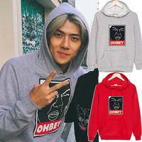 New EXO sehun ohbey cotton Sweatshirt Suit long sleeve hoody Outerwears