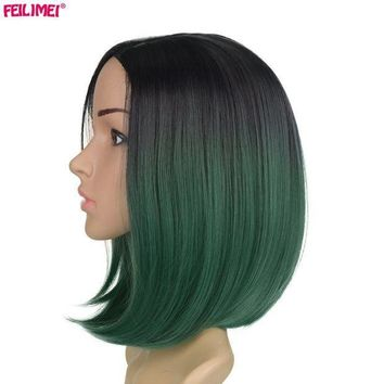 CREYON Feilimei Black Short Straight Wig 160g African American Females hair Extensions Synthetic Japanese Fiber Ombre Green Bob Wigs