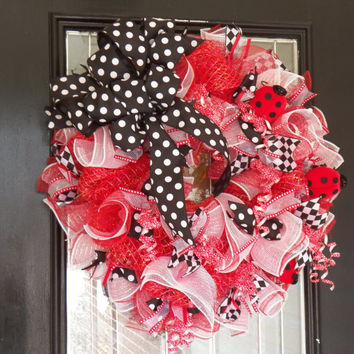 Ladybug Deco Mesh Wreath- Summer Wreath- Spring Wreath- Decorative Wreath- Ready to Ship