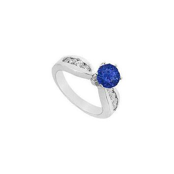 DCCKU7Q Sapphire and Diamond Engagement Ring : 14K White Gold - 1.00 CT TGW