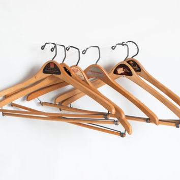 Vintage Wood Clothes Hangers with California Store Labels, Suit Coat Pants Combination Coat Hanger, Shop Supply