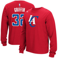 912312b8461 Blake Griffin Los Angeles Clippers adidas Name & Number Long Sleeve T-Shirt  – Red