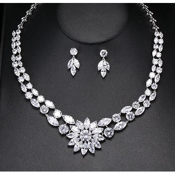 High Quality Cubic Zirconia Necklace Earrings Jewelry Set Classic Flower Zircon Ladies Engagement Party Jewelry