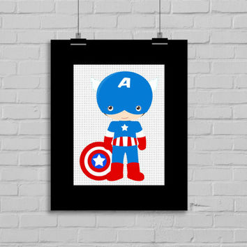 Captain America Art - Captain America Printable, Comic Book, Instant Download, PRINTABLE 8x10, Kids Wall Art , Nursery Wall Art, Playroom