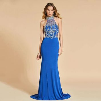 Halter long evening dresses dark royal blue sleeveless floor length gown women celebrity mermaid evening dress