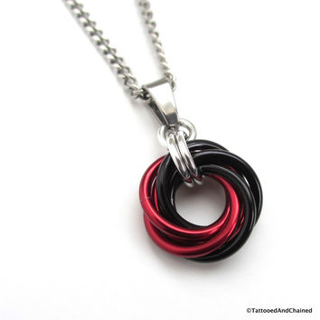 Red and black pendant, chainmaille love knot