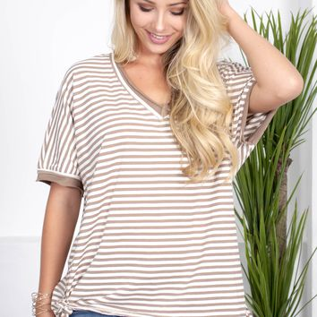 Mocha Brown Striped Top
