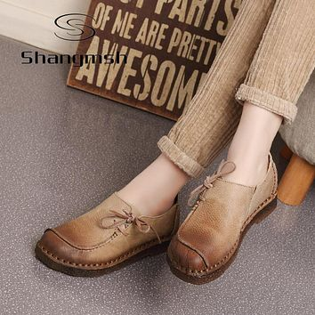 Shangmsh Handmade vintage women shoes genuine leather female moccasins loafers soft Comfortable casual shoes flats Plus Size