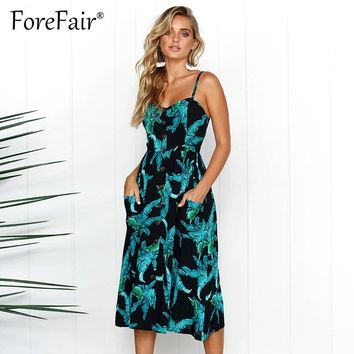 Forefair 27 Colors Boho Print Beach Strap Summer Dress S-3XL Plus Size Women Sexy Strapless Buttons Midi Dresses Sundress