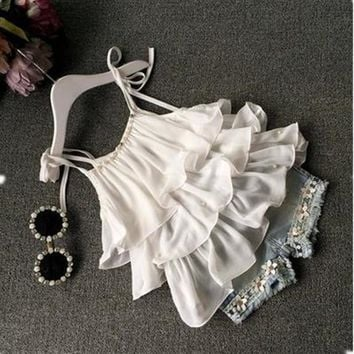 2016 Summer children's clothing chiffon dress sling + Pants 2 pc flower pearl halter top shorts kids jeans