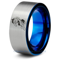 Denver Broncos Blue Tungsten Wedding Band Ring Mens Womens Brushed Pipe Cut NFL Sports Horse Colorado Peyton Manning Custom Sizes Available