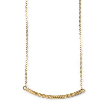 14k Yellow Gold Polished Textured 2.5mm Curved Bar Necklace, 18 Inch